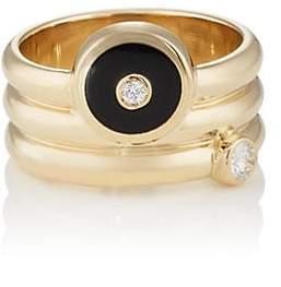 Ring Black RETROUVAI Women's Triple Coil Mini Compass Ring - Black