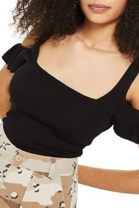 Topshop Ruffle Cold Shoulder Knit Top