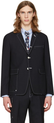 Thom Browne Navy Constructed Square Pocket Blazer $1,500 thestylecure.com