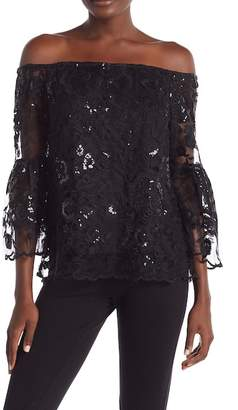 Vince Camuto Lace 3/4 Length Bell Sleeve Blouse