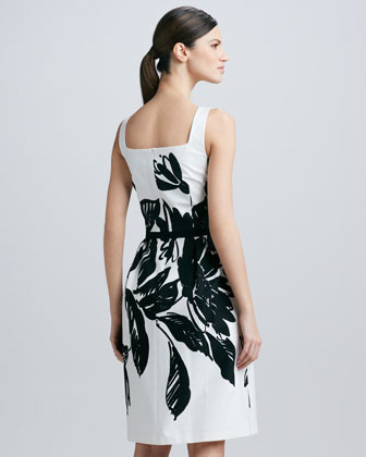 David Meister Sleeveless Sequined Floral-Print Dress
