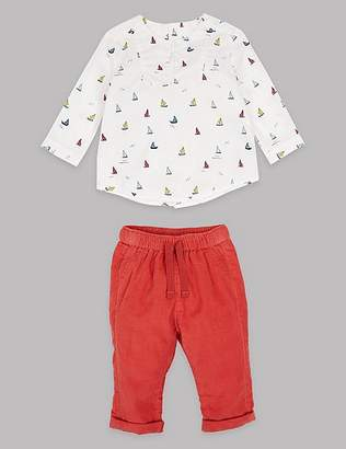 Marks and Spencer 2 Piece Pure Cotton Shirt & Trousers Outfit