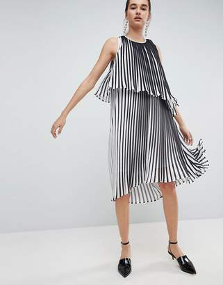 ASOS White ASOS WHITE Midi Dress With Layered Pleat $143 thestylecure.com