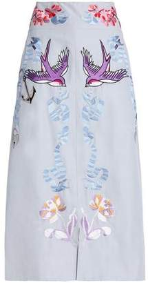 Temperley London Embroidered Cotton And Silk-Blend Midi Skirt