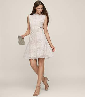 Reiss Tori - Lace Fit And Flare Dress in Soft Yarn
