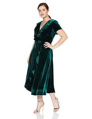Gabby Skye Women's Plus Size Short Sleeve Solid Ruffled Dress