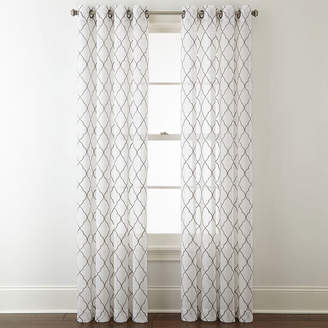 JCPenney JCP HOME Home Bayview Embroidery Sheer Grommet-Top Curtain Panel