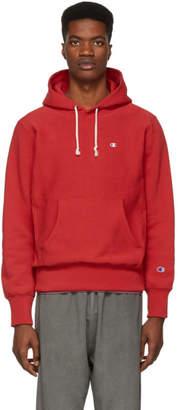Champion Reverse Weave Red Logo Hoodie
