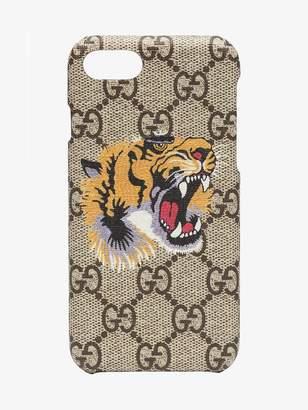 Gucci beige GG Supreme Tiger iPhone 8 case
