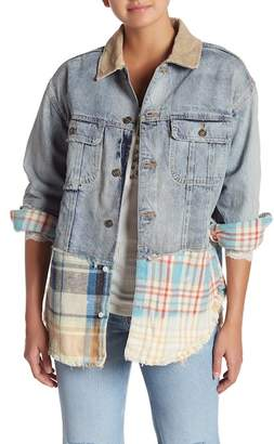 Free People Sirius Mixed Plaid Trim Denim Jacket