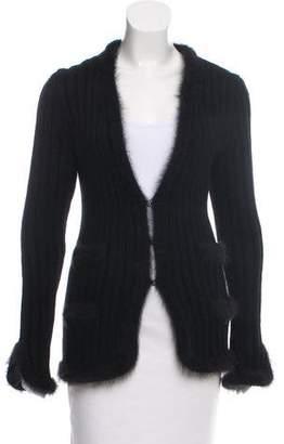 Chanel Angora Rib Knit Cardigan