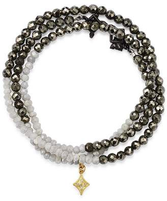 Armenta 18K Yellow Gold & Blackened Sterling Silver Old World Pyrite, Moonstone & Pavé Diamond Beaded Wrap Bracelet