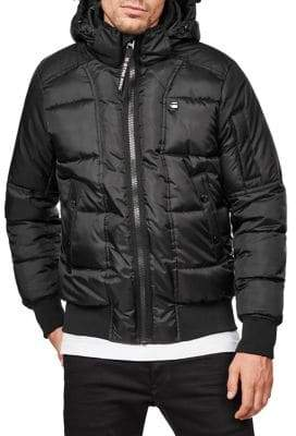 G Star Quilted Hooded Bomber Jacket