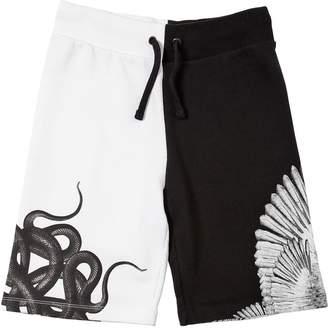 Marcelo Burlon County of Milan Two Tone Cotton Sweat Shorts
