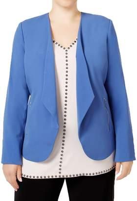 Alfani Womens Plus Draped-Lapel Open Front Blazer Blue