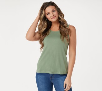 Isaac Mizrahi Live! Essentials Pima Cotton Scoop- Neck Tank Top