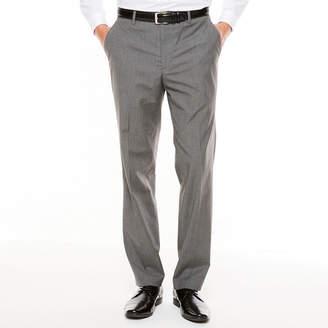 Jf J.Ferrar Men's JF Texture Stretch Charcoal Flat-Front Straight-Leg Slim Pants