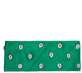Julia Clancey - Alice Teardrop Crystal Embellished Silk Headband - Womens - Green