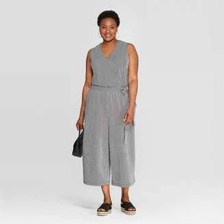 Ava & Viv Women's Plus Size Striped Sleeveless V-Neck Knit Jumpsuit Black