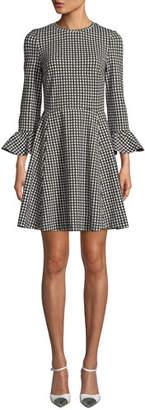 Kate Spade Houndstooth Ponte Ruffle-Cuff Dress