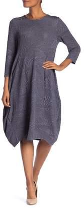 Papillon 3/4 Length Sleeve Textured Knit Dress