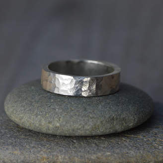 Huiyi Tan Textured Wedding Band In Sterling Silver