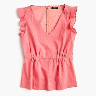 J.Crew Petite V-neck peplum top in swiss dot