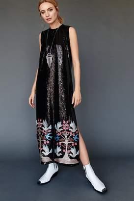 Anna Sui Blue Bird Sequin Embroidered Maxi Dress