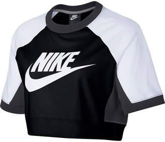 Nike Colorblock Short Sleeve Crop Sweatshirt