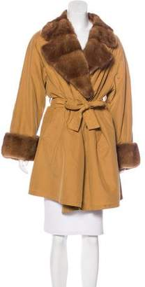 Gianfranco Ferre Fur-Trimmed Knee-Length Coat