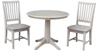"""INC International Concepts Wood 36"""" Round Dining Table and 2 Mission Chairs in Washed Gray Taupe - Set of 3"""