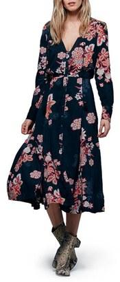 Free People 'Miranda' Floral Print Midi Dress $148 thestylecure.com