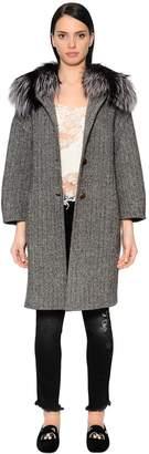 Ermanno Scervino Wool Herringbone Coat W/ Fox Fur Collar