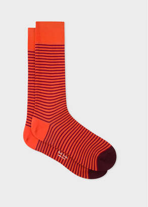 Paul Smith Men's Orange And Burgundy Thin Stripe Socks
