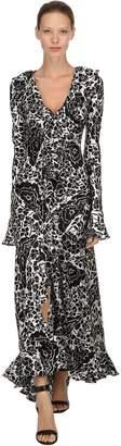 De La Vali Tangerine Oriental Silk Long Dress