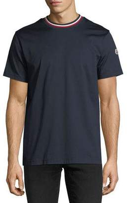 Moncler Relaxed T-Shirt with Tricolor Neck, Navy