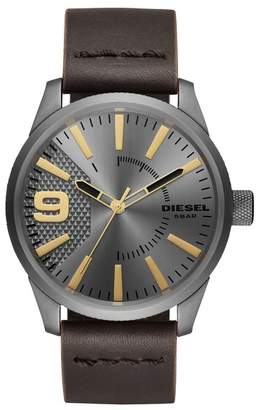 Diesel Men's Rasp Leather Strap Watch, 46mm