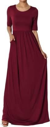 Hunter TheMogan Women's Half Sleeve Empire Waist Fit & Flare Pocket Dress Navy 2XL
