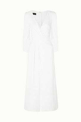 Talbot Runhof Silva Cropped Cape-effect Ruched Crepe Jumpsuit - White