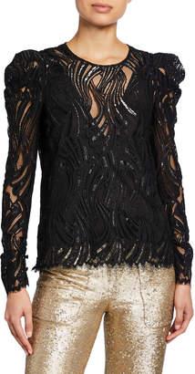 Jonathan Simkhai Metallic Lace Puff-Sleeve Top