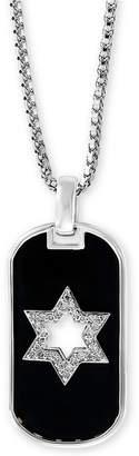 "Effy Men Diamond Star of David 22"" Pendant Necklace (1/8 ct. t.w.) in Sterling Silver"