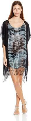 Gypsy 05 Gypsy05 Women's Inshore Tie Dye Poncho Cover Up With Crochet and Fringe, Inshore Turqse