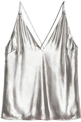 H&M Shimmering Metallic Top - Silver