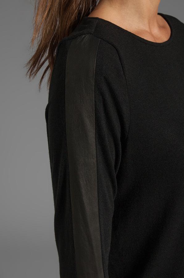 Alice + Olivia Leather Stripe Long Sleeve Tee