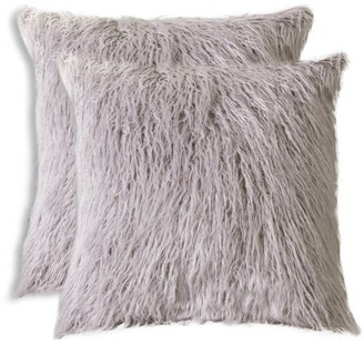 LUXE FAUX FUR 2-Pack Frisco Mongolian Sheepskin Faux Fur Pillow