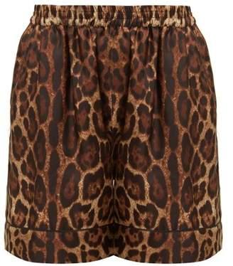 Dolce & Gabbana Leopard Print Silk Twill Shorts - Womens - Leopard