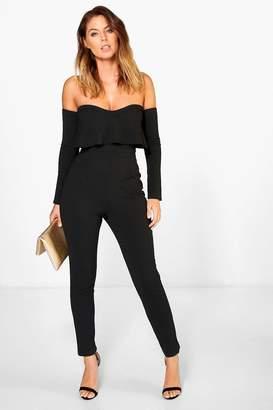 boohoo Bardot Long Sleeve Skinny Leg Jumpsuit