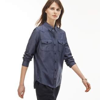Lacoste Women's Slim Fit Denim Effect Cotton Chambray Shirt