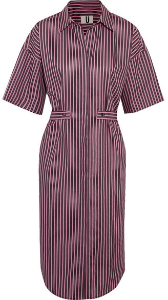 Topshop Unique Tiller Oversized Striped Cotton Shirt Dress - Pink