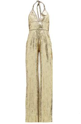 Dundas Sequinned And Crystal Trim Halterneck Jumpsuit - Womens - Gold